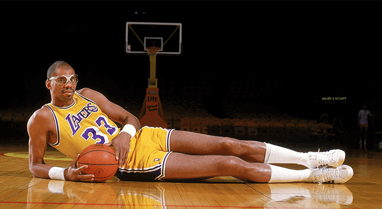 Kareem Abdul Jabbar's playoff stats stand at 24.3 PPG, 2.4 BPG, and 10.5 RPG